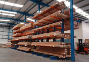 Storage System. Cantilever Racking, Warehouse Storage